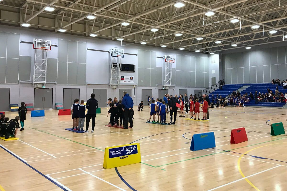 school sports competition in a sports hall